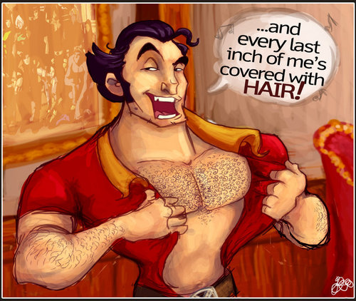 Penjahat Disney kertas dinding with Anime entitled Gaston's hairy chest