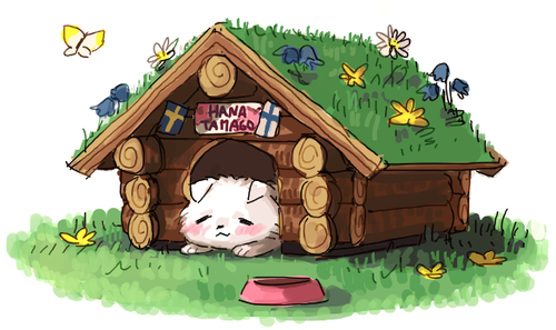 Hanatamago in His Dog House