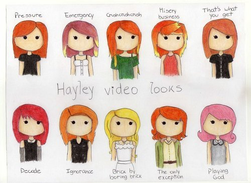 Hayley's many looks from Paramore Songs