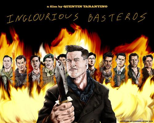 Inglourious Basterds fond d'écran with a feu and a feu entitled Inglourious Basterds