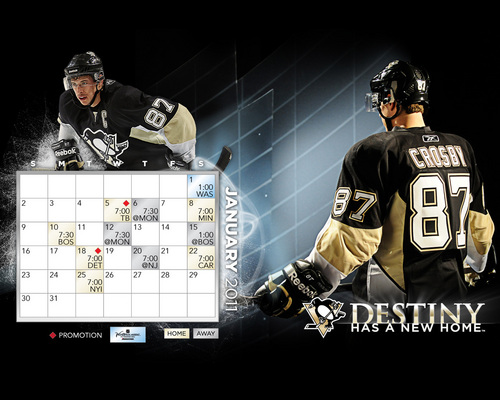 January 2011 Calendar/Schedule - pittsburgh-penguins Wallpaper