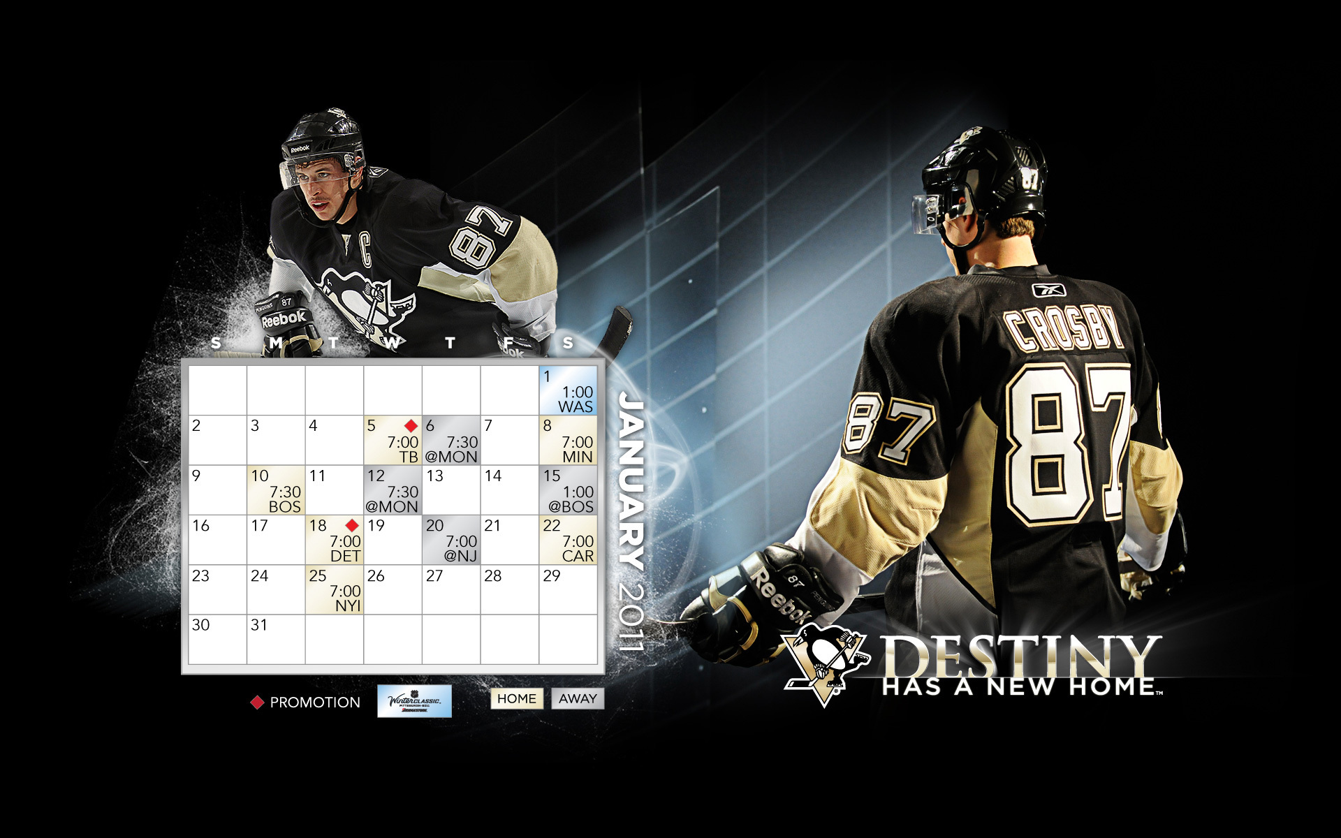 January 2011 Calendarschedule Pittsburgh Penguins