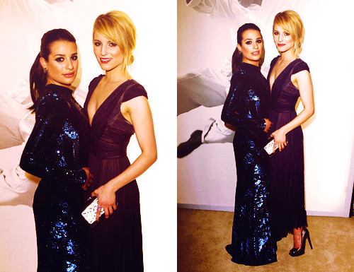 Lea Michele and Dianna Agron wallpaper containing a dinner dress and a cocktail dress called Lea&Dianna