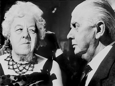 "Margaret Rutherford as Miss Marple and Stringer Davis as Mr. Stringer in ""MURDER AT THE GALLOP"""