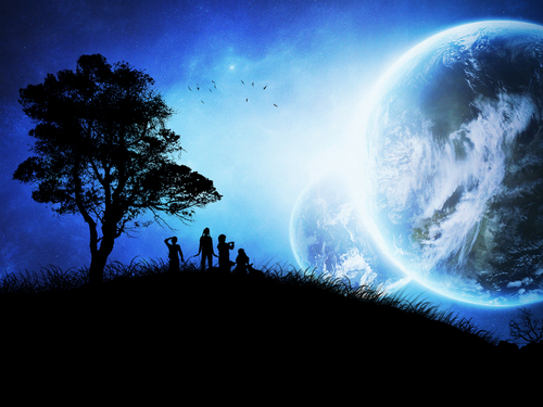 Fantasy wallpaper entitled another world in the night