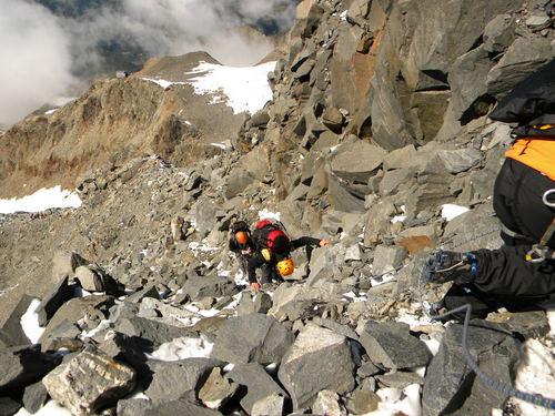 climbing to Gouter hut