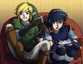 link and marth - majoras-mask fan art