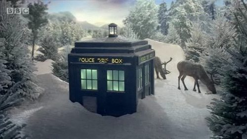 the tardis in the snow for christmas.