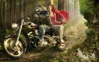 serigala, wolf on motorbike with grlfriend