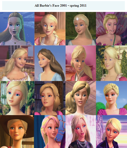All Barbie's Face 2001-spring2011