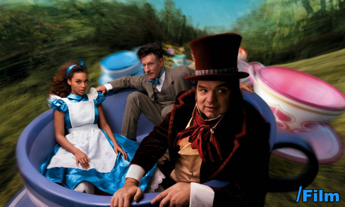 Beyoncé as Alice, olive Platt as the March Hare, and Lyle Lovett as the Mad Hatter