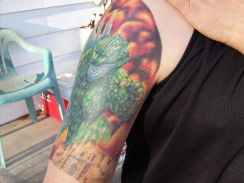 Godzilla দেওয়ালপত্র called Godzilla invades SA tattoo