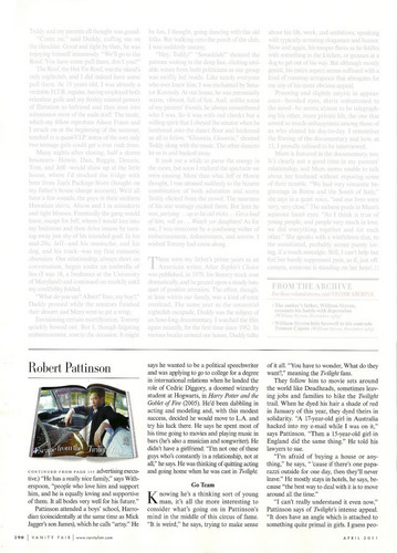 HQ scans of Robert Pattinson's Interview in Vanity Fair