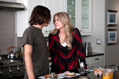 Hanna & Caleb wallpaper containing a jantar mesa, tabela called Hanna and Caleb
