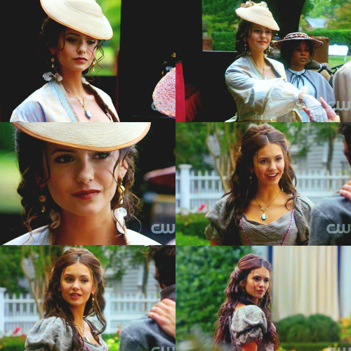 Katherine Pierce Hintergrund containing a snap brim hat, a boater, and a sombrero called Kat
