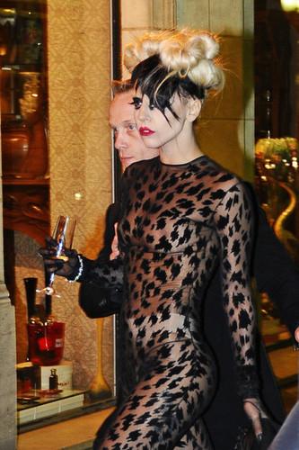 Lady Gaga arrives to Maxim's restaurant in Paris