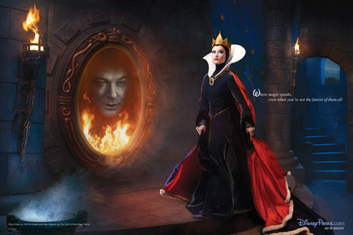 Olivia Wilde and Alec Baldwin as The 퀸 and Magic Mirror