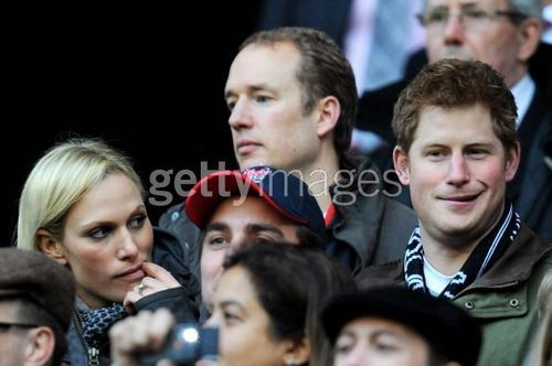 Zara Phillips and Prince Harry prior to the RBS 6 Nations Championship match