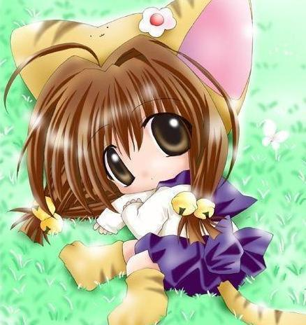 Neko anime Characters karatasi la kupamba ukuta possibly containing a bonnet entitled chibi neko girl