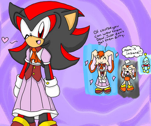 Sonic the Hedgehog wallpaper with Anime entitled shadow wearing vanillas dress ...XD
