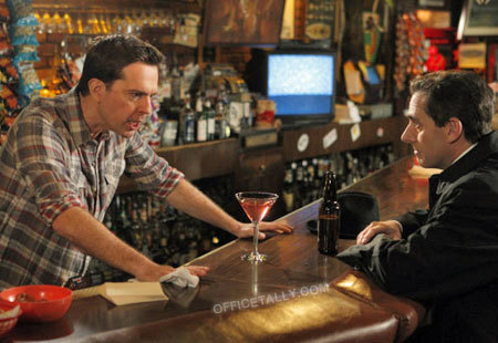Andy as bar tender and Michael Scarn