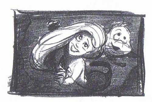 Walt disney Sketches - Princess Ariel & linguado, solha