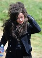 Helena on the set of Harry Potter DH