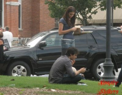 Ian Somerhalder and Nina Dobrev wallpaper possibly with a street titled Ian & Nina on Set