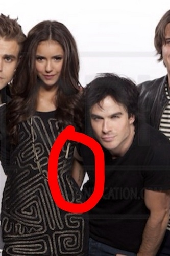 Ian Somerhalder and Nina Dobrev wallpaper possibly containing a portrait called Ians hand! :D