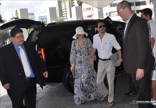 Jennifer & Marc arriving at The Hotel La Concha in San Juan, Puerto Rico