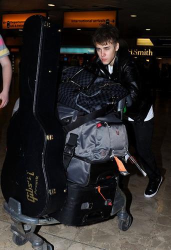 Justin Bieber at Heathrow