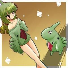 Larvitar and a Larvitar cosplayer