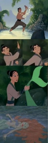 Mulan catching fish