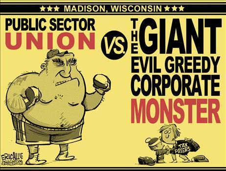 U.S. Republican Party Hintergrund containing Anime entitled Public Unions vs Corporate Monsters