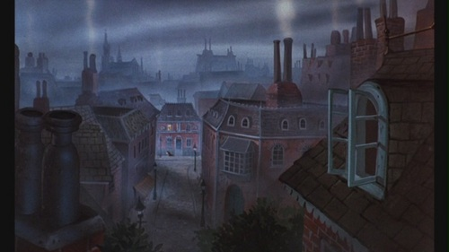 Classic Disney wallpaper probably with a brownstone, a row house, and a street entitled The Great Mouse Detective