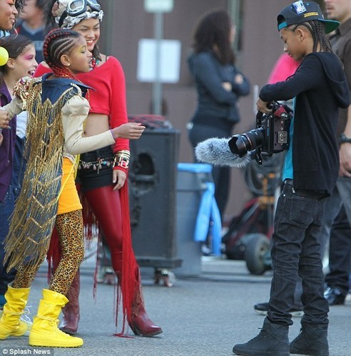 Willow & Jaden on the set of her new song 21st Century Girl