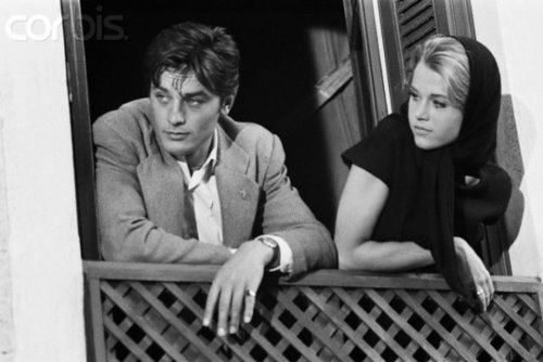 Alain Delon kertas dinding probably with a jalan entitled Alain and Jane Fonda
