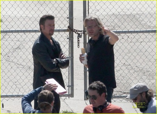 Brad Pitt: 'Cogan's Trade' Makeup Touch Up