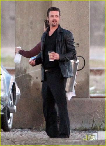 Brad Pitt: Happy On Set of 'Cogan's Trade'
