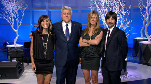 Christina, Leno, Aniston, and Schwartzman
