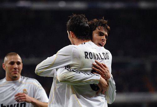 Cristiano Ronaldo and Ricardo Kaka wallpaper probably with a bowler, a wicket, and a fielder titled Cristiano Ronaldo & Kaka