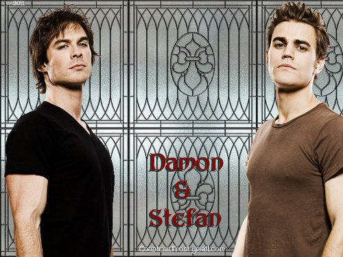 Maonyesho ya Televisheni ya Vampire Diaries karatasi la kupamba ukuta with a stained glass window called Damon & Stefan