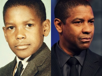 films fond d'écran with a business suit and a suit titled Denzel Washington - now & then