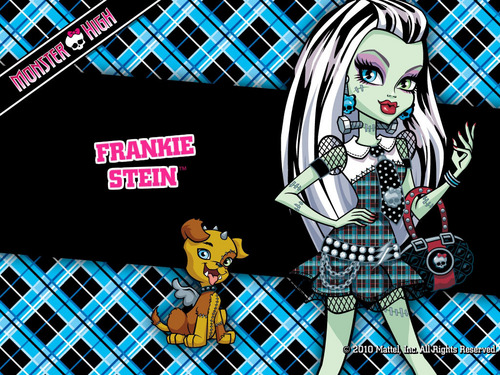 Monster High wallpaper with a chainlink fence and anime titled Frankie Stein Wallpaper 1024x768 & 800x600