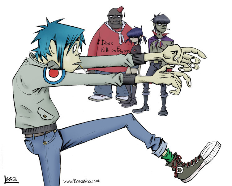 The pictures for -- Gorillaz Cyborg Noodle And Murdoc