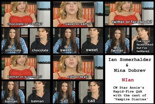 Ian Somerhalder and Nina Dobrev wallpaper entitled Ian/Nina ღ