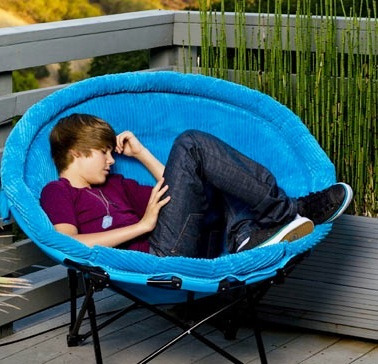 Justin bieber Sleeping on a beanie chair