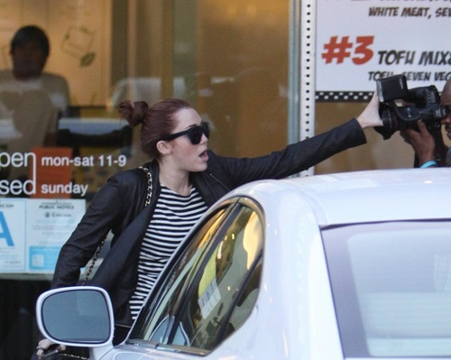 Leaving California Chicken Cafe in West Hollywood (8th March 2011)