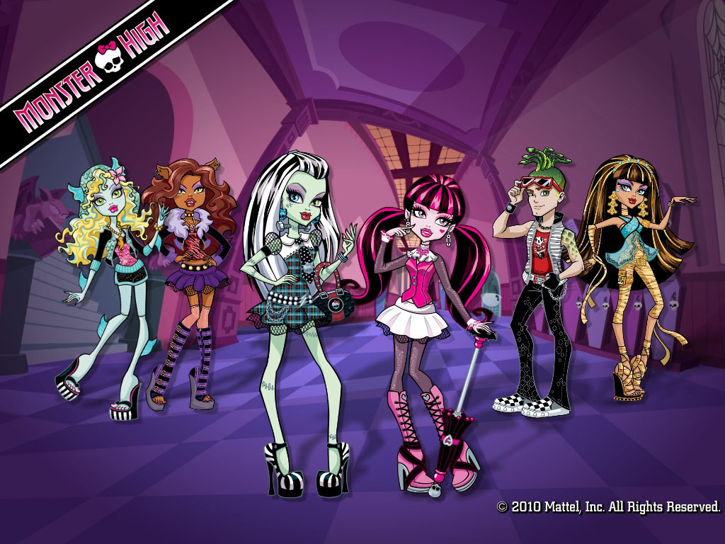 Monster High Group kertas dinding 1024x768 & 800x600