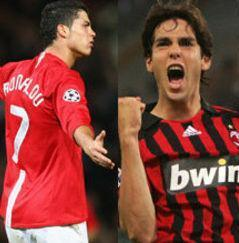 Cristiano Ronaldo and Ricardo Kaka karatasi la kupamba ukuta possibly containing a mpira wa kikapu player, a forward, and a running back entitled RK & CR